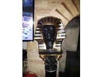 Eygptian King Tutanhumun Large Gold and Black Pedestal