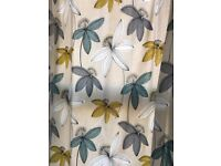 "90"" x 90"" dunelm eyelet dandelion print fully lined cotton curtains"