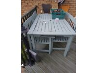 Garden table & 2 chairs & bench