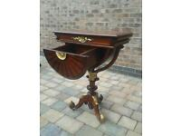 Work table antique reproduction mahogany bedside table