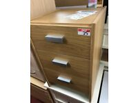 oak bedside - grey handles