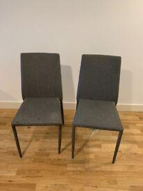 2 x Grey Fabric Dinning Room Chairs