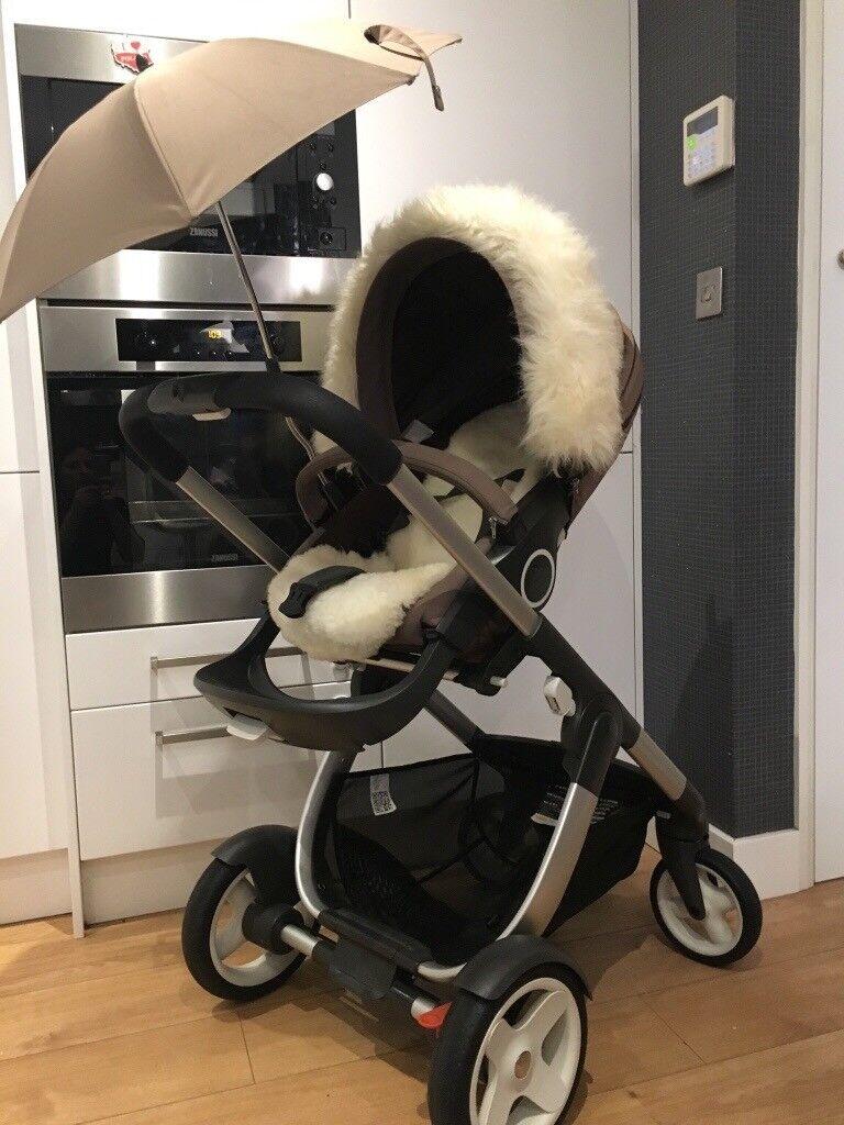 Stokke Crusi Baby Pram Stokke Travel Bag And Sheepskin