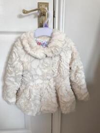 9 - 12 months cream fluffy coat