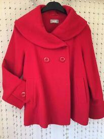 COAT 80% Wool . WALLIS Size 14 (M) lined cherry Red WINTER WEDDING /christening