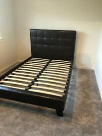 Brown double bed frame