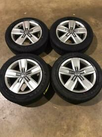 "Set of 17"" genuine Vw alloy wheels with brand new tyres Vw T5 T6 Transporter"