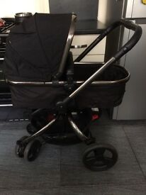 Mothercare Orb Pram multi position Pram, includes lining, cosy toes, rain cover.