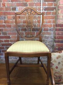 2 x lovely carved wooden chairs with cream seat