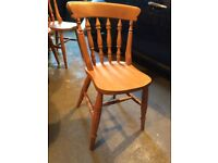 6 solid pine farmhouse kitchen chairs. All in sound condition.