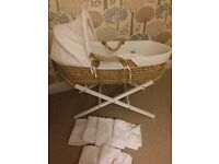 Clair de Lune white waffle Moses Basket and white wooden stand inc. free sheets & mattress