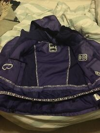 Almost new - Ladies purple No Fear ski jacket with hood Size 12