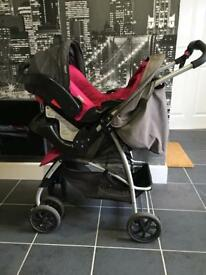 Graco pink and grey travel system
