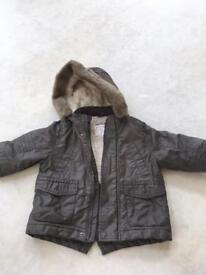 Boys khaki warm coat - 12-18 months