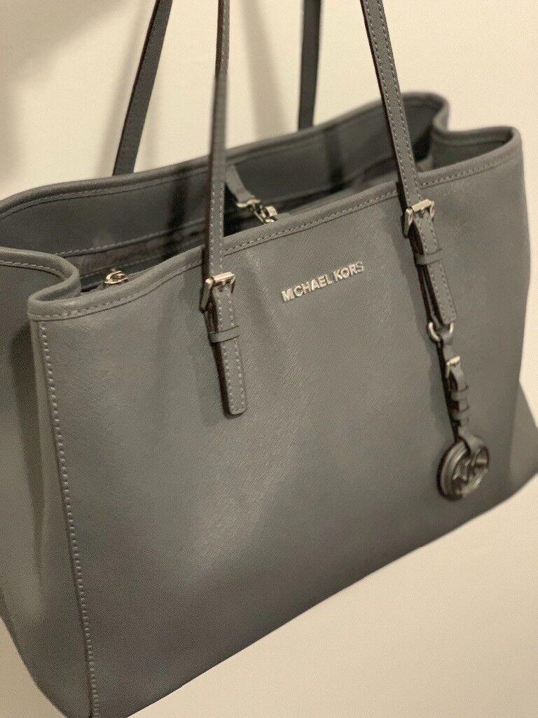 1acfde0bc118 Michael Kors Grey Saffiano Leather Bag