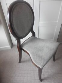 Grey/silver dark wood upholstery chairs