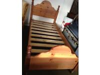 Chunky solid pine single bed