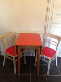 Vintage Formica dining table with 3 chairs