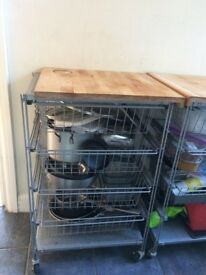 Kitchen trolley with drawers & chopping board