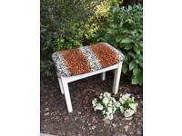 Vintage Stool with leopard tiger upholstery