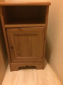 Bedside table- storage- hinged door- shelf compartment