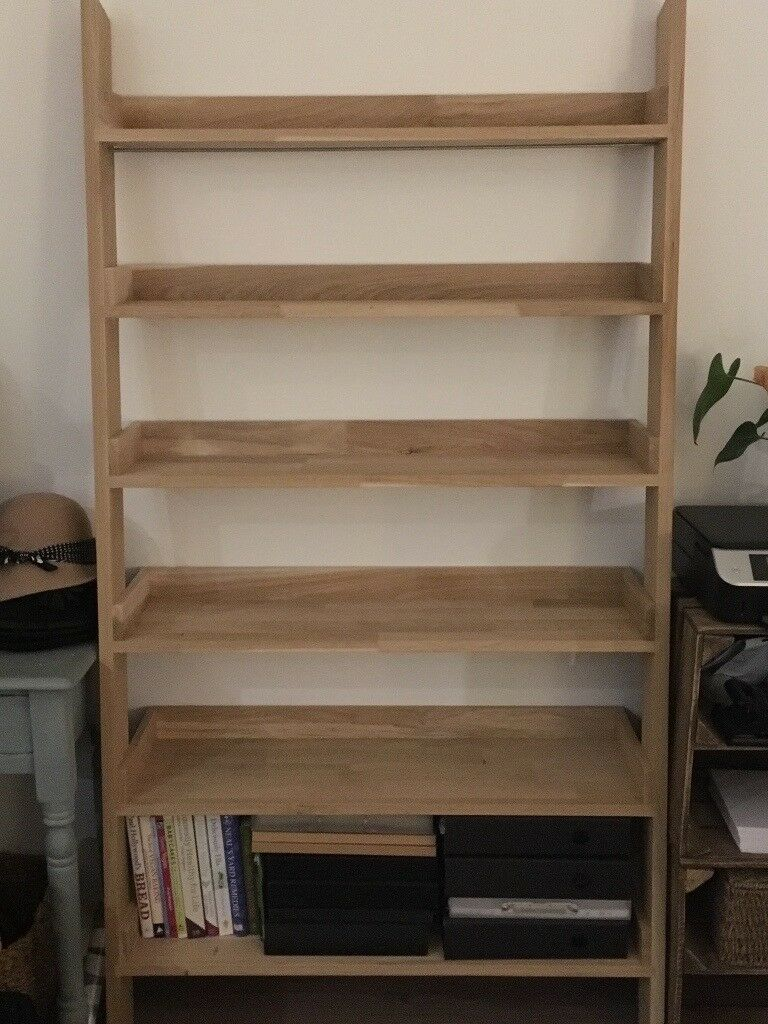 Solid Oak Ladder Bookcase Shelving