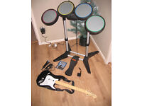 Ps3 Rock Band Drums Drum sticks Guitar USB Dongle and Rockband game