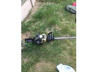 petrol lawnmower and petrol hedge trimmers