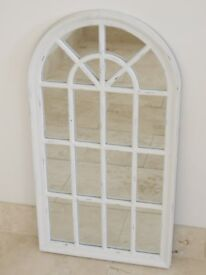 White Vintage Style Distressed Arch Mirror