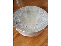 """Silver, round wedding cake stand. 16"""""""
