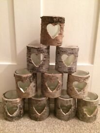 Winter wedding heart wooden and glass candle holders