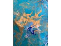 Turquoise Abstract Art|Hand made|Brand new