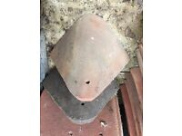 Antique red redland clay roof tiles: 2 corner tiles, each one is 28cm by 28cm
