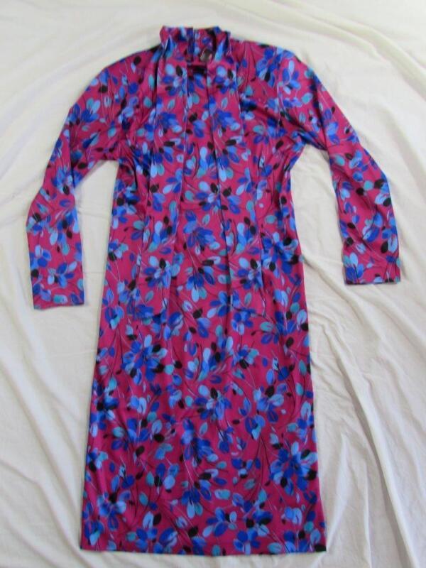 Vtg 70s Womens Floral Polyester Hippie Boho Dress Extra Long Nice Shape!