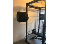 Strength Shop SquatCage, Bar, Bench, Weights and mats