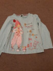 Long skeeved turquoise top with pink girl print