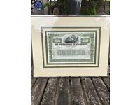 Framed American Share Certificate 50cm x 40cm