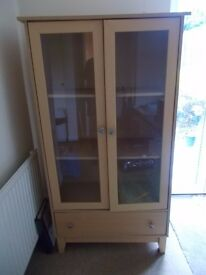 Beech effect glass cabinet