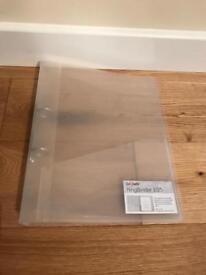 Brand new clear A4 ring binder folders. £2 each and 19 available.