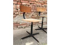 Swivel School Engineering Chair Strong Wooden Metal Framed Adjustable Height