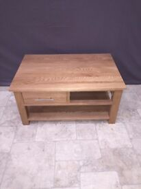 Solid Oak Coffee Table with 2 Drawers Low Living Room Table Furniture