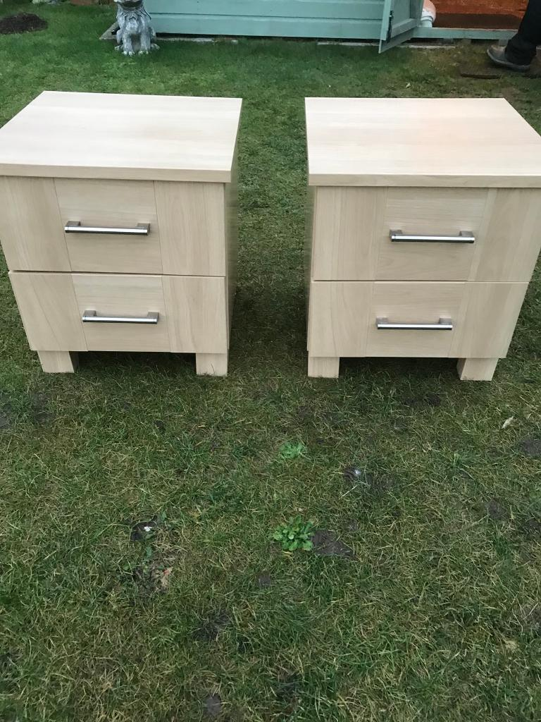 Pair beech effect bedsides ( can deliver )