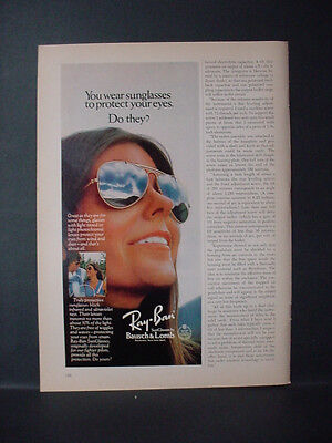 1975 Ray-Ban Sunglasses Protect your Eyes Bausch & Lomb Vintage Print Ad 11354