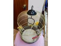 Bird cage gold H50cm W35cm with toys water & food trays