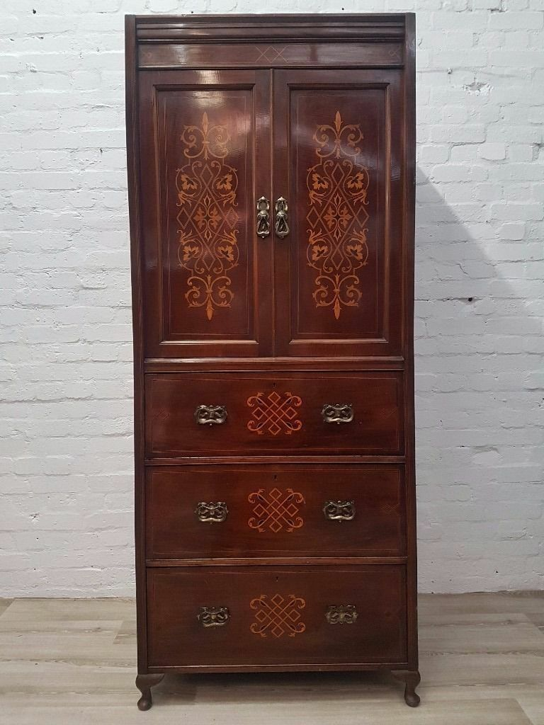 Edwardian Inlaid Linen Press (DELIVERY AVAILABLE FOR THIS ITEM OF FURNITURE)