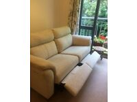 G-Plan 2 seater fabric sofa with two electric foot recliners
