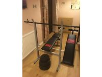 GYM WORKOUT BENCH PRESS WITH 30KG VINYL WEIGHTS (2x7.5 KG, 2x5KG, 2x2.5KG) PLUS LEGCURL EXTENSION