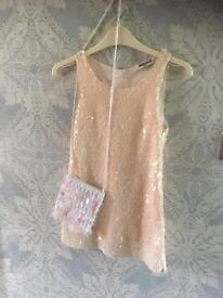 Holly communion, wedding, party dress with hand bag