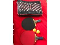 Two table tennis bats with case and balls