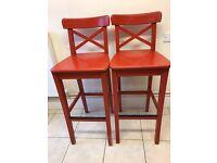 Ikea wooden bar stool x2